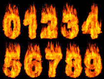 Burning Digits. 3D Illustration of burning digits isolated on black background Royalty Free Stock Images