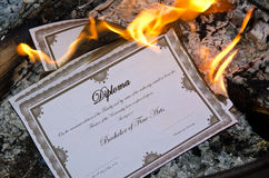 Burning Diploma Royalty Free Stock Photo