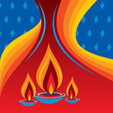 Burning diya on Diwali Holiday background Royalty Free Stock Photography