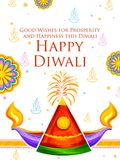 Burning diya and firecracker on Happy Diwali Holiday background for light festival of India Stock Photos
