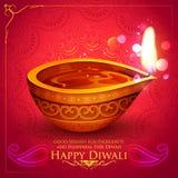 Burning diya on happy Diwali Holiday background for light festival of India Royalty Free Stock Photo