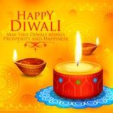 Burning diya on happy Diwali Holiday background for light festival of India Royalty Free Stock Photography