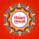 Burning diya on Happy Diwali Holiday background for light festival of India Stock Image