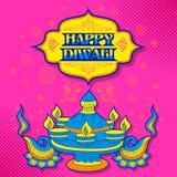 Burning diya on Happy Diwali Holiday background for light festival of India Royalty Free Stock Images