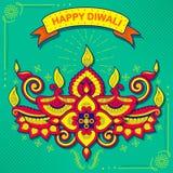 Burning diya on Happy Diwali Holiday background for light festival of India Stock Images