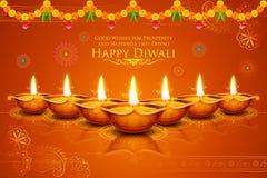 Burning diya on Happy Diwali Holiday background for light festival of India Stock Photography