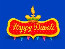 Burning diya on happy Diwali Holiday background for light festival of India Royalty Free Stock Photos