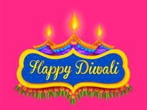 Burning diya on happy Diwali Holiday background for light festival of India Stock Photos