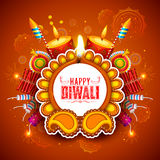Burning diya on Happy Diwali Holiday background for light festival of India. Illustration of burning diya on Happy Diwali Holiday background for light festival Stock Image