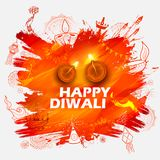 Burning diya on Happy Diwali Holiday background for light festival of India. Illustration of burning diya on Happy Diwali Holiday background for light festival Stock Photo