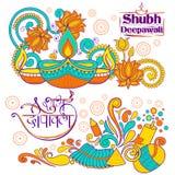 Burning diya on Happy Diwali Holiday background for light festival of India Stock Image
