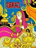Burning diya on happy Diwali Holiday doodle background for light festival of India Royalty Free Stock Images