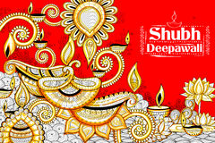 Burning diya on happy Diwali Holiday doodle background for light festival of India Royalty Free Stock Photos
