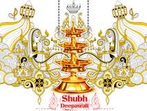Burning diya on happy Diwali Holiday doodle background for light festival of India Stock Photos