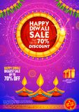 Burning diya on Happy Diwali Holiday Sale promotion advertisement background for light festival of India. Illustration of burning diya on Happy Diwali Holiday royalty free illustration