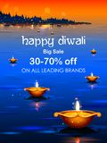 Burning diya on happy Diwali Holiday Sale promotion advertisement background for light festival of India royalty free illustration