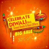 Burning diya on Happy Diwali Holiday Sale promotion advertisement background for light festival of India. Illustration of burning diya on Happy Diwali Holiday Royalty Free Stock Photos