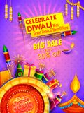 Burning diya on Happy Diwali Holiday Sale promotion. Illustration of burning diya on Happy Diwali Holiday Sale promotion advertisement background for light Stock Photography