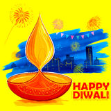 Burning diya on Happy Diwali Holiday watercolor background for light festival of India Royalty Free Stock Photos