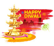Burning diya on Happy Diwali Holiday watercolor background for light festival of India Stock Images