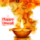 Burning diya on Happy Diwali Holiday watercolor background for light festival of India Royalty Free Stock Photo