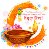 Burning diya on Happy Diwali Holiday watercolor background for light festival of India Royalty Free Stock Images