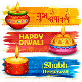 Burning diya on Happy Diwali Holiday watercolor banner background for light festival of India Royalty Free Stock Photos