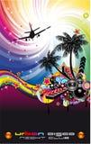 Burning Dj Background for Alternative Disco Flyers Royalty Free Stock Images