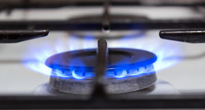Burning do fogão de gás Fotos de Stock