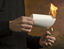 Burning document Stock Images