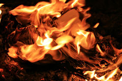 Burning Documents. Documents burn in a fire at night Stock Photos