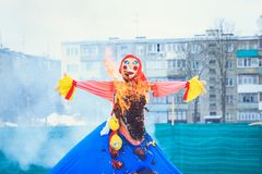 The burning doll at the holiday Maslenitsa in Belarus royalty free stock photos