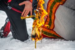 Maslenitsa doll. Burning of a doll during spring holiday of Maslenitsa Stock Image