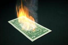 burning dollar Arkivfoton