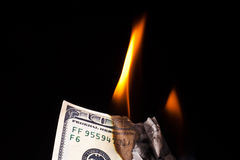 Burning dollar banknote Royalty Free Stock Images
