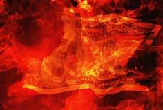 Burning Dollar Bill Stock Image