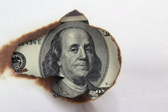 Burning dollar bill Stock Photo