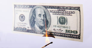 Burning dollar bill Royalty Free Stock Photos