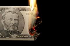 Burning dollar bill Royalty Free Stock Photo