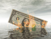 Burning Dollar Bill. In the Water Royalty Free Stock Photo