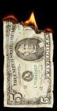 Burning dollar Stock Photo