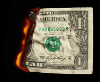 Burning dollar Royalty Free Stock Photo