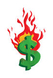 Burning dollar money illustration. Illustration of dollar money burnt in fire, business concept and idea, available in EPS 10 vector format, easy to edit Stock Photography