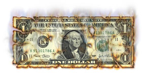 Burning Dollar. Photo Illustration of a U.S. one dollar bill retouched crumbling and burning Stock Images
