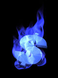 Burning dollar sign. 3D concept of dollar sign burning in blue flames, isolated, on black background Royalty Free Stock Image