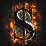 Burning dollar sign. For your design Stock Photography
