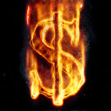 Burning dollar sign. For your design Stock Photo