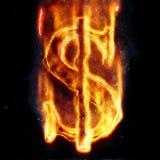 Burning dollar sign Stock Photo