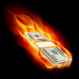 Burning dollars Royalty Free Stock Photos