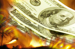 Burning dollars Royalty Free Stock Photo